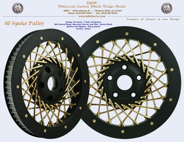 40 spoke denim black and brass pulley