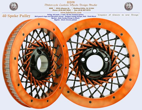 40 spoke pulley Candy orange and black fade