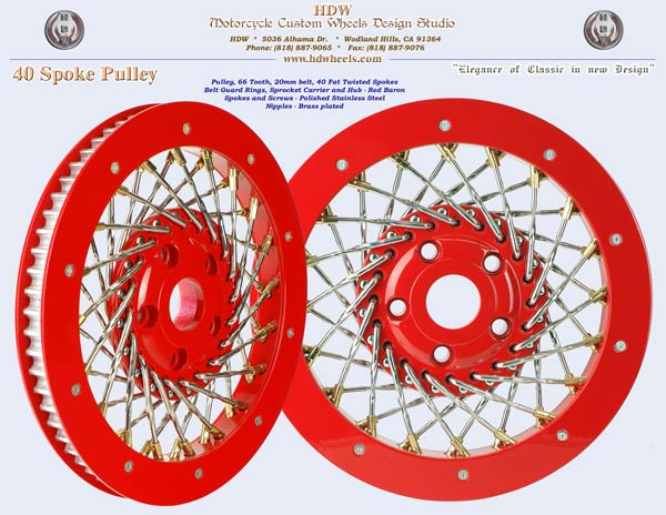 Spoke pulley Fat twisted spokes Red