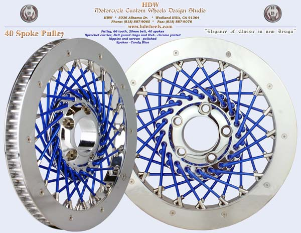 40 spoke pulley chrome and blue