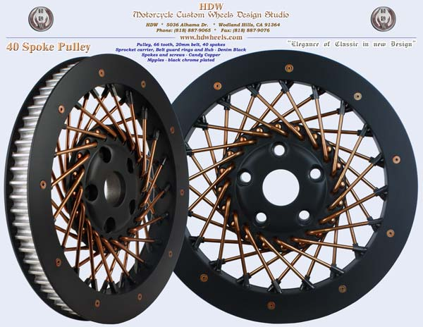 40 spoke pulley black and copper