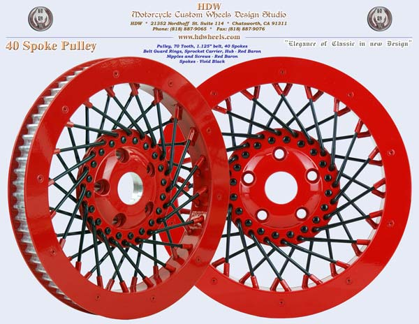 40 spoke pulley Red Baron and Vivid Black Harley