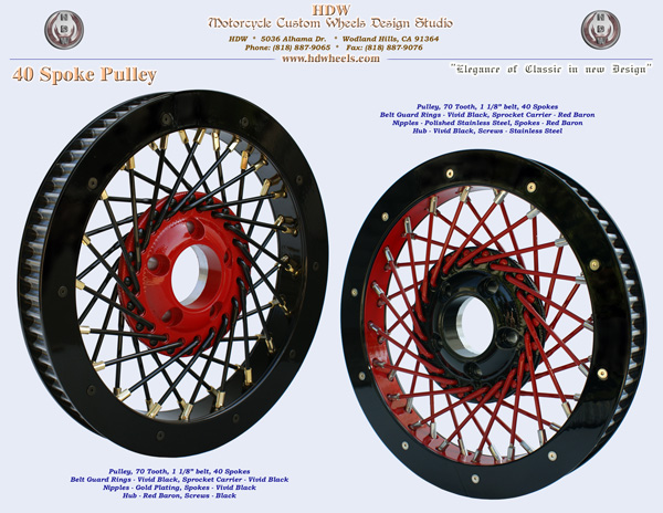 40 spoke pulley red and black