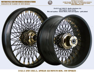 21x3.5 and 18x8.5 Apollo 100 spokes Denim Black and Gold plating