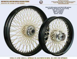 23x3.75 and 18x3.5 100 and 80 beige spokes black harley