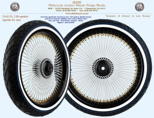 21x3.25, Apollo-SL, Radial, Vivid Black and White, Gold plated nipples, 120/70-21 custom white wall tire