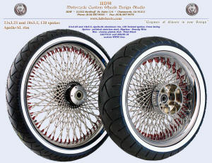 21x3.25 and 18x5.5, Apollo-SL, Twisted spokes, Chrome, Brandy Wine nipples, Custom white wall tires