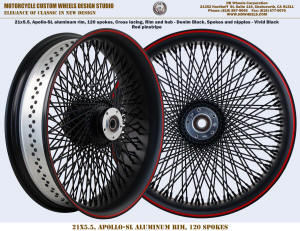 21x5.5 120 spokes front wheel Harley front black