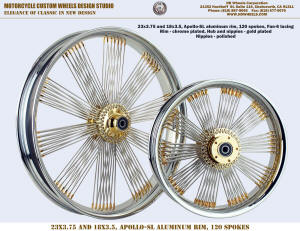 23x3.75 and 18x3.5 Fan-6 radial chrome and gold Harley Indian