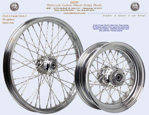 15x4.5 and 21x2.15, Steel rim, Twisted spokes, Chrome