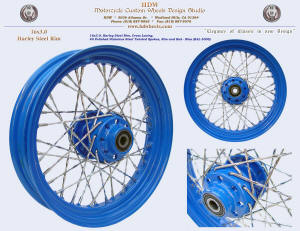16x3.0, Steel rim, Harley hub, Twisted spokes, Blue