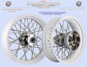 16x3.0 and 16x5.0, Steel rim, Fat spokes, Glacierr White, Chome, 2009 and up Touring