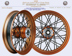 16x3.5, Steel rim, Fat spokes, Matte Candy Copper, Vivid Black