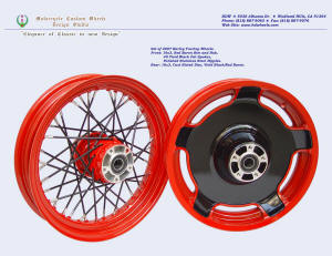 16x3.0 and 16x3.0, Harley wheels, Fat spokes, Red Baron, Vivid Black