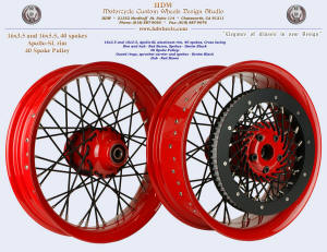 16x3.5 and 16x5.5, Apollo-SL, Red Baron, Denim Black, 40 spoke pulley