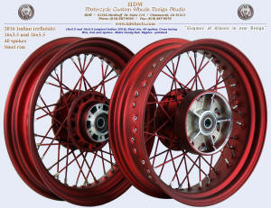 16x3.5 and 16x5.5, Steel rim, Matte Candy Red,
