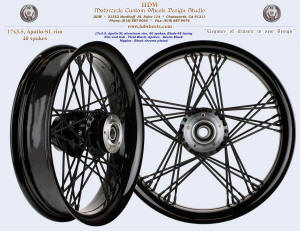 17x3.5, Apollo-SL, Blade-48, Fat spokes, Vivid Black, Denim Black, Black chrome plated nipples