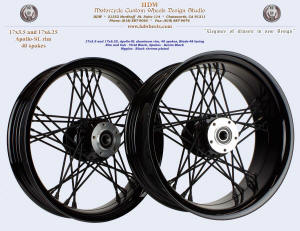 17x3.5 and 17x6.25, Apollo-SL, Blade-48, Fat spokes, Vivid Black, Denim Black, Black chrome plated nipples