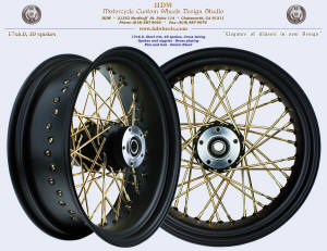 17x6.0, Steel rim, Fat spokes, Denim Black, Brass plating
