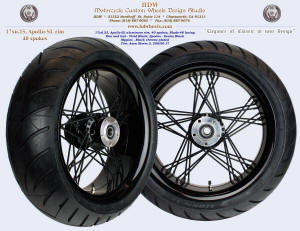 17x6.25, Apollo-SL, Blade-48, Fat spokes, Vivid and denim Black, 200/50-17 tire