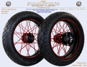 18x2.75 and 18x4.25, Sun rim, S-Cross, Vivid Black, Red Baron, Red pinstripe, Street XG500 / 750