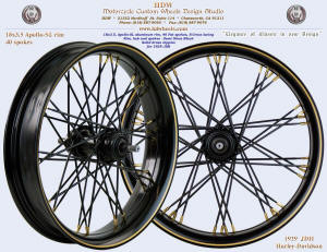18x3.5, Apollo-SL, S-Cross, Fat spokes, Semi Gloss Black, Brass nipples, Brass pinstripe, 1929 JHD