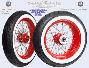 18x3.5 and 16x5.0, Steel rim, Red Baron, 120/90-18 and 180/65-16 White Wall tires