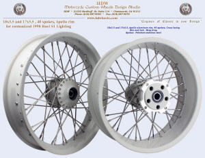 18x3.5 and 17x5.5, Apollo, Navy Gray, For 1998 Buell S1