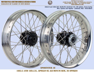 18x3.5 and 18x4.25 wheels Apollo-SL 36 spokes Polished and Vivid Black Sportster-48