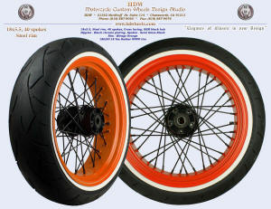 18x5.5, Steel rim, Mirage Orange, Semi Gloss Black, Black chrome plated nipples, 180/50-18 WWW tire