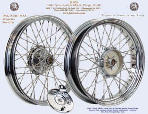 19x2.15 and 18x3.5, Steel rim, Twisted, Chrome, Triumph Tiger Cub