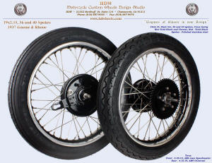 19x2.15, Steel, 36 and 40 spokes, Vivid Black, Chrome, For 1937 Gnome and Rhone, Tires