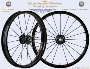 21x2.15, Sun rim, 20 spokes, Radial lacing, Semi Gloss Black