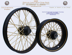 21x2.15 and 16x3.0, Steel rim, Denim Black, Brass plating, Brass pinstripe