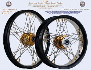21x2.15 and 18x4.25, Apollo-SL, Blade-48, Two tore rim Semi Gloss Black and polished, Candy Gold