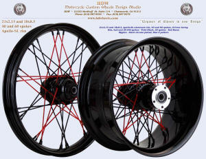 21x2.15 (40 spokes) and 18x8.5 (60 spokes), Apollo-SL, S-Cross, Vivid Black, Red Baron Star-5