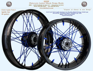 21x3.5 and 17x5.5, Apollo, Blade-48, Vivid Black, Blue spokes and 5 bullet caps, Harley hubs
