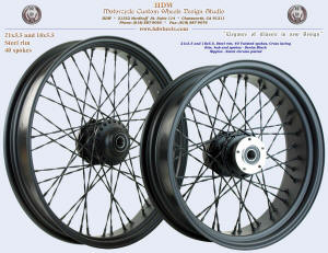 21x3.5 and 18x5.5, Steel rim, Twisted Spokes, Denim Black, Black chrome plated nipples