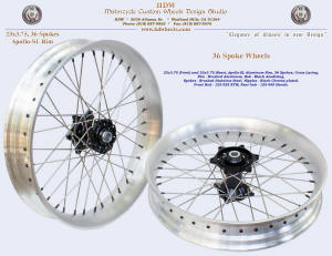 23x3.75, Apollo-SL, 36 spokes, Brushed, Black anodized, Black chrome plated nipples