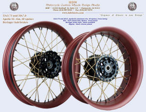 23x3.75 and 20x7.0, Apollo-SL, Dark Denim Red, Brass plated spokes, Black plated nipples, Beringer brakes