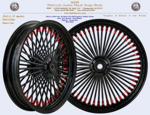 18x3.5, Steel rim, Super Fat spokes, Vivid Black, Candy Red, Mid Glide hub