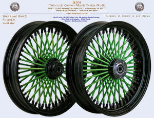 18x3.5, Steel rim, Super Fat spokes, Vivid Black, Radioactive Gree