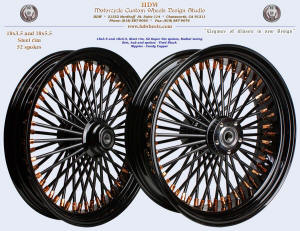 18x3.5 and 18x5.5, Steel rim, Super Fat spokes, Vivid Black, Candy Copper
