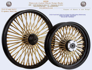 21x2.15 and 18x3.5, Steel rim, Super Fat spokes, Vivid Black, Gold plating