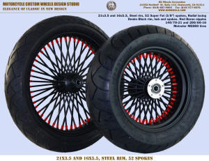 21x3.5 and 16x5.5 52 Super Fat Radial wheel Denim Black and Red Baron 140 and 200 tire