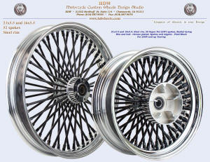 21x3.5 and 16x5.5, Steel rim, Super Fat spokes, Chrome, Vivid Black, For 2009 and up Touring