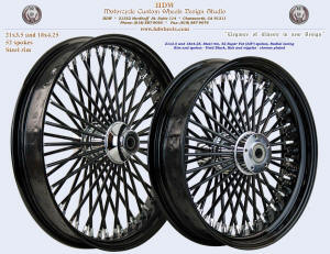 21x3.5 and 18x4.25, Steel rim, Super Fat spokes, Vivid Black, Chrome