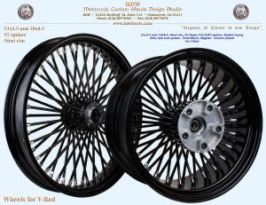 21x3.5 and 18x5.5, Steel rim, Super Fat spokes, Vivid Black, Chrome, For V-Rod
