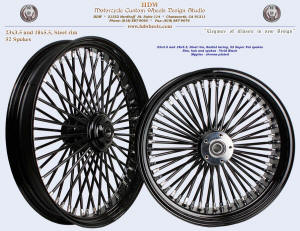 23x3.5, and 18x5.5, Steel rim, Super Fat spokes, Vivid Black