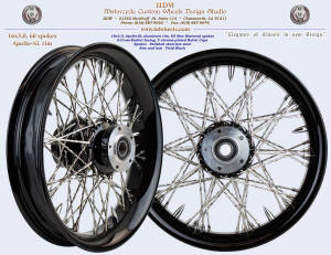 16x3, Apollo-SL, S-Cross-Radial, Vivid Black, New Diamond spokes, 5 chrome bullet caps